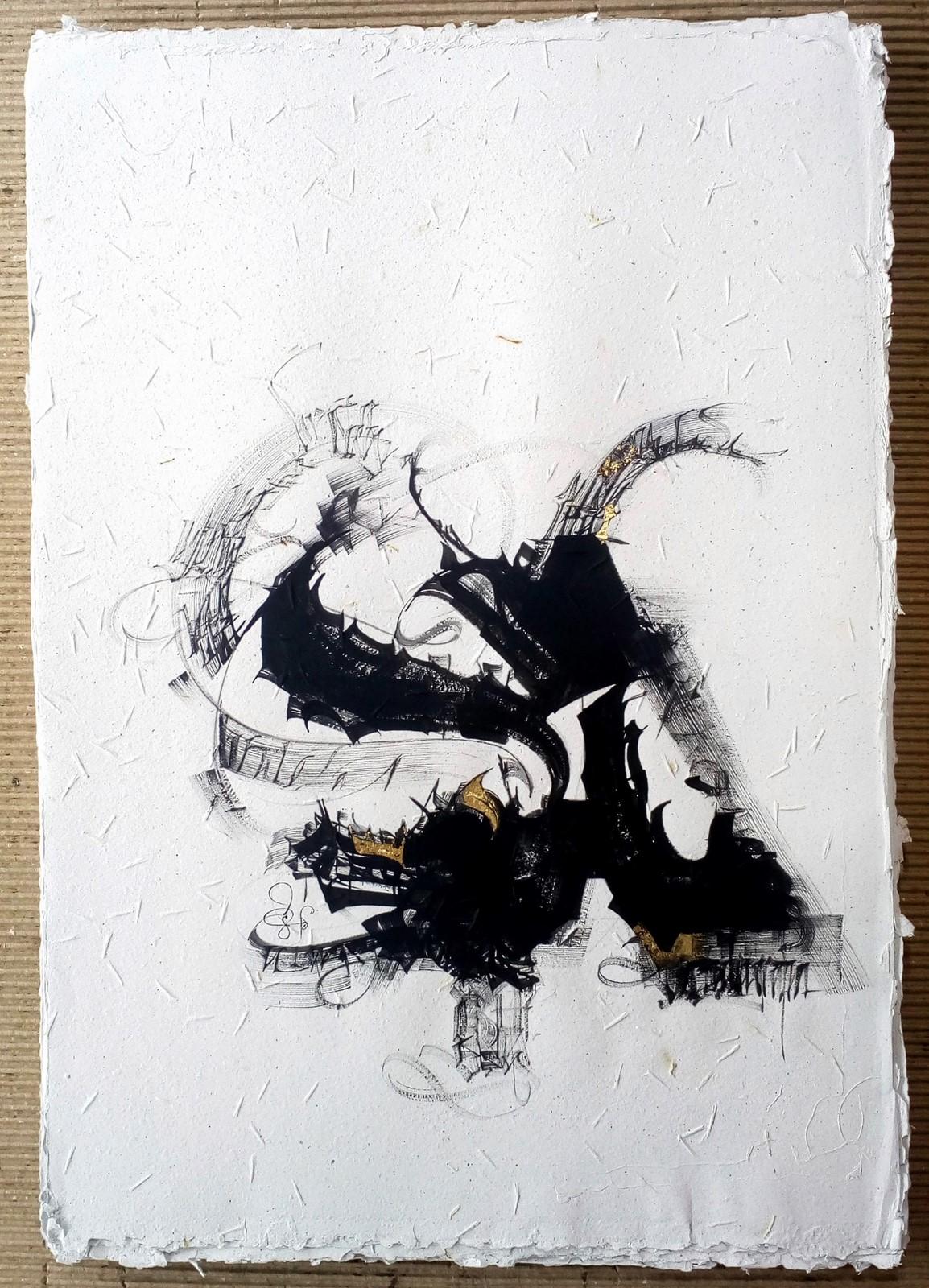 """<p>""""Bruta_La_A_ #2"""", Bruta Koleksiyonu 2018, Rio de Janeiro'da Boyanmış, Geri dönüştürülmüş tohum kağıt üzerine akrilik ve altın yaprak. Fırça 50 x 70 cm boyutlarında, 2018.<br /><em>""""Bruta_La_A_#2"""", Bruta Collection 2018, Painted in Rio de Janeiro, Acrylic and golden leaf on seed recycled paper, Brush Dimensions: 50 x 70 cm, 2018.</em></p><p></p>"""