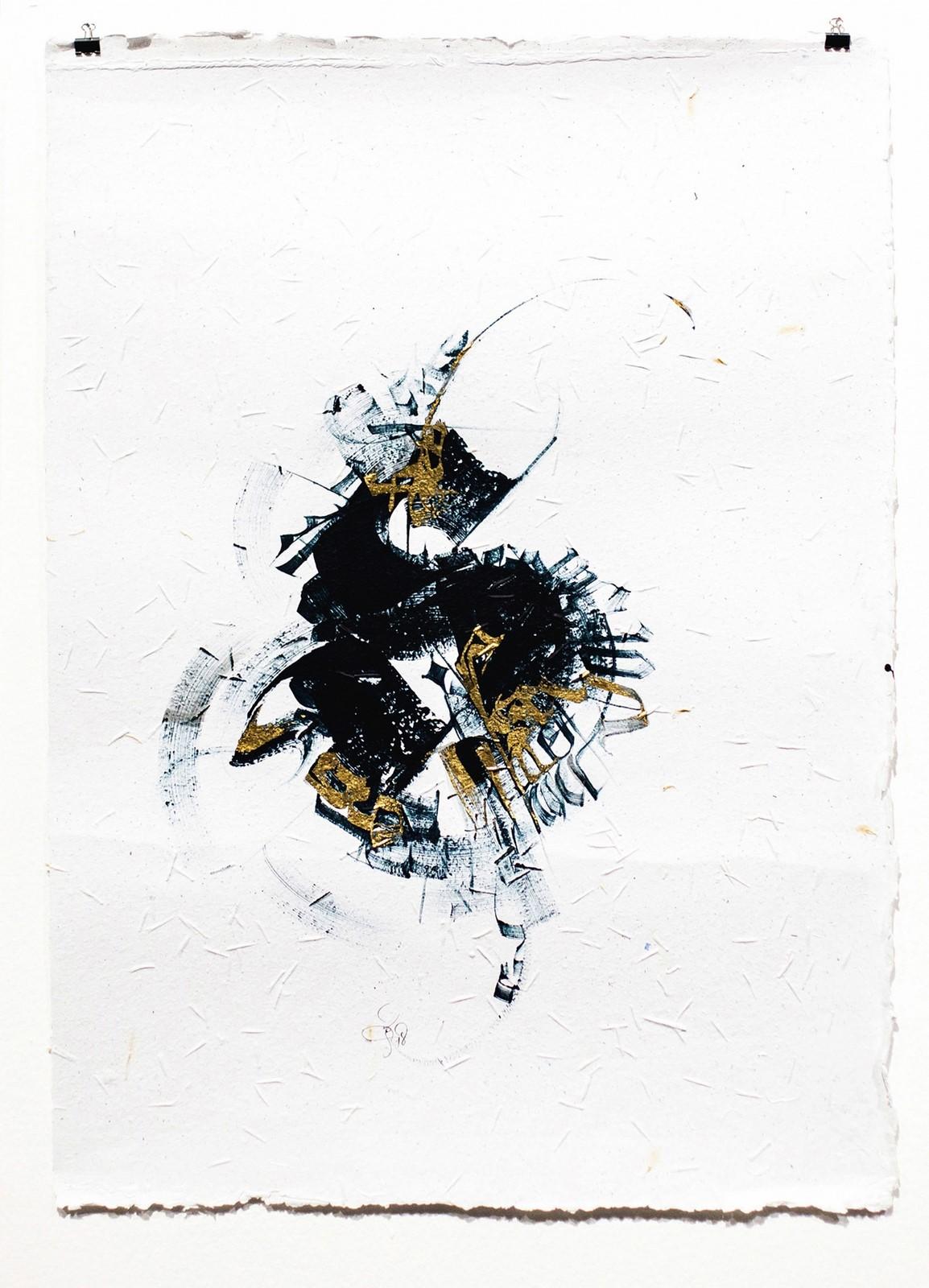 """<p>""""S Ruh: Bruta Serisi"""", Rio de Janeiro'da boyanmış, Geri dönüştürülmüş tohum kağıt üzerine akrilik ve altın yaprak, Fırça 50 x 70 cm boyutlarında, 2018.<br /><em>""""S The Spirit: Bruta Series"""", Painted in Rio de Janeiro,</em><em>Acrylic and golden leaf on seed recycled paper. Brush</em><em>Dimensions: 50 x 70 cm, 2018.</em></p>"""