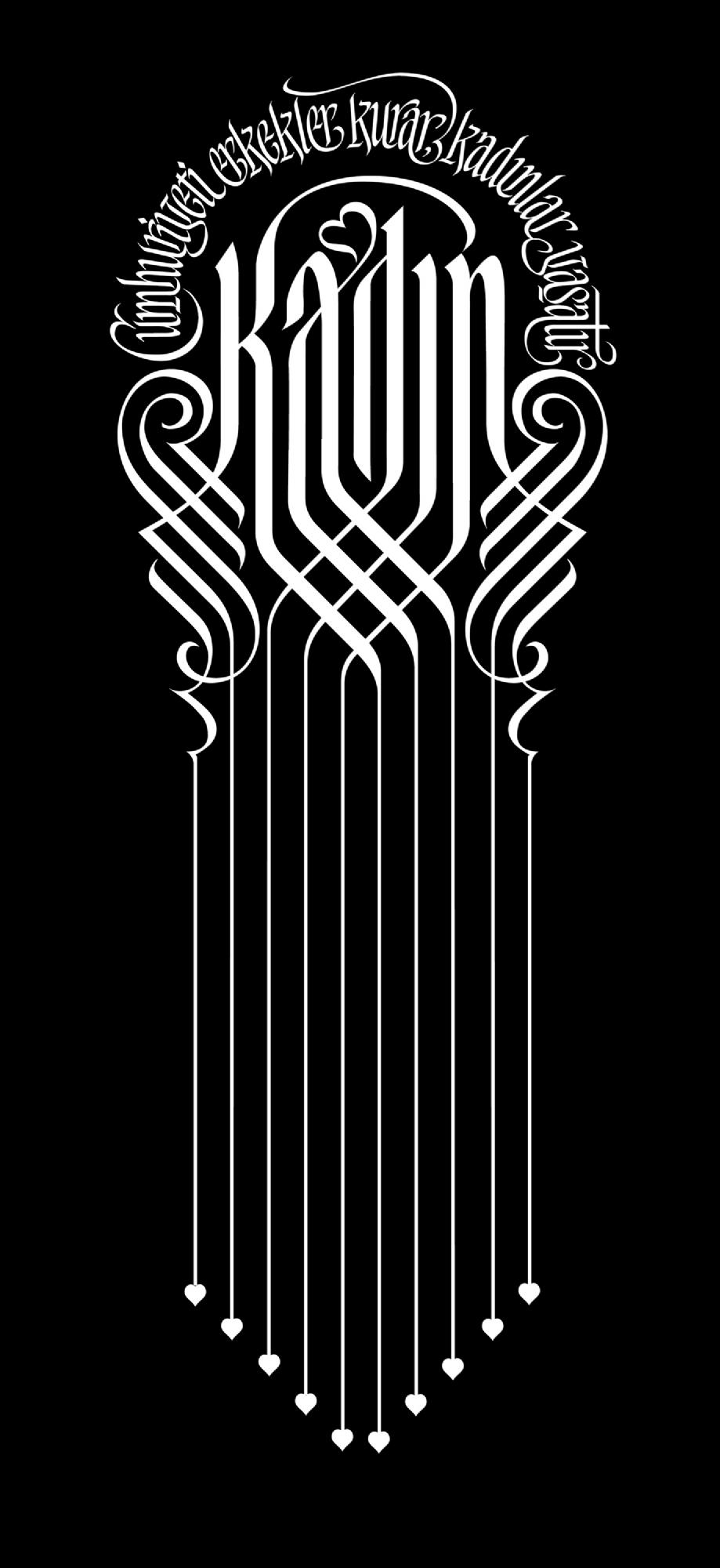 "<p>""Kadın"", Vektörel Kaligrafi, 18 x 40 cm, Anonim Atasözü.<br /><em>'Woman', Vector Calligraphy, 18 x 40 cm, Anonymous Proverb.</em></p>"